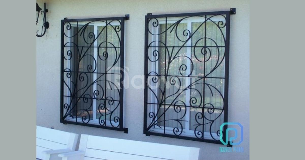 Thiết kế, gia công khung cửa sổ sắt uốn mỹ thuật kiến trúc hiện đại