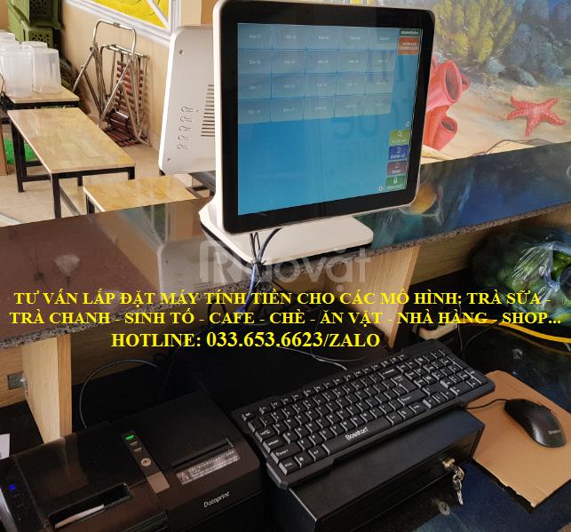 Lắp máy tính tiền 2 màn hình cho quán trà chanh, trà sữa