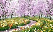 Tranh gạch 3d cánh đồng hoa