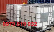 Bán thùng nhựa vuông 1000 lít đựng hóa chất, thùng nhựa có khung sắt