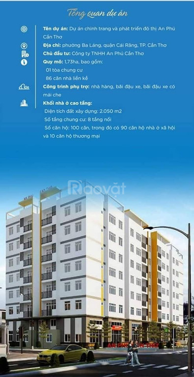 Chung cư dự án An Phú nhà xã hội Cần Thơ 2PN, 61m2, 850 triệu