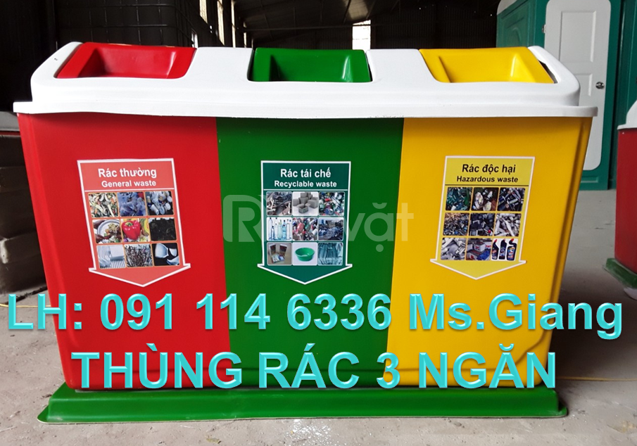 Thùng rác 2 ngăn phân loại giá rẻ,thùng rác 660 lít nhựa composite