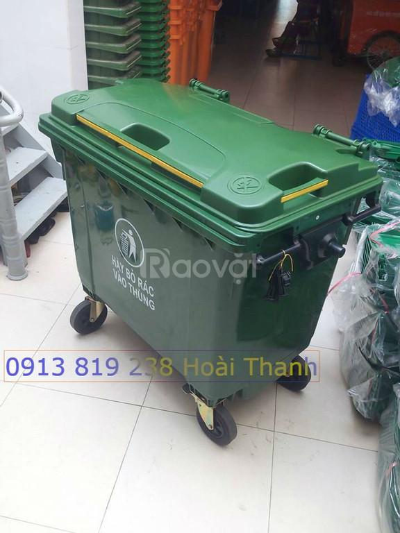 Bán xe đẩy gom rác 660 lít có 4  bánh xe
