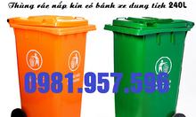 Thùng rác công nghiệp 240L, thùng rác 2 bánh xe 240L
