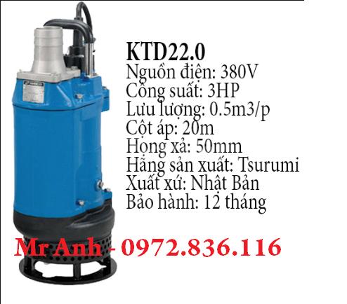 0972.836.116 Bán máy bơm chìm nước thải 2kw KTD22.0 hiệu Tsurumi-Jap (ảnh 3)