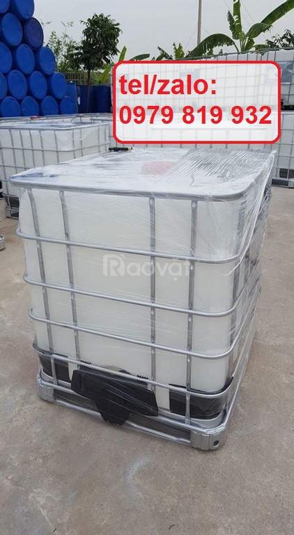 Bán thùng nhựa vuông 1000l có khung sắt chứa hóa chất