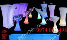 Bàn ghế nhựa led cafe phát sáng