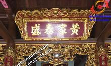 Mẫu hoành phi câu đối đẹp bằng gỗ cho gia tiên nhà thờ họ