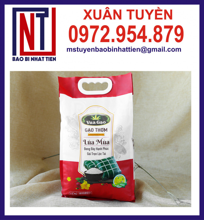 Bao bì gạo 5kg gắn quai nhựa