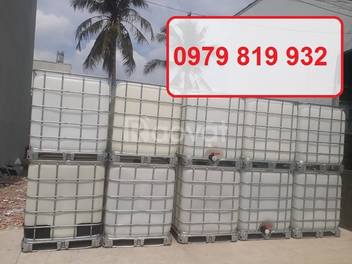 Bán tank nhựa vuông 1000l chứa hàng tank nhựa IBC 1000l có khung sắt (ảnh 1)