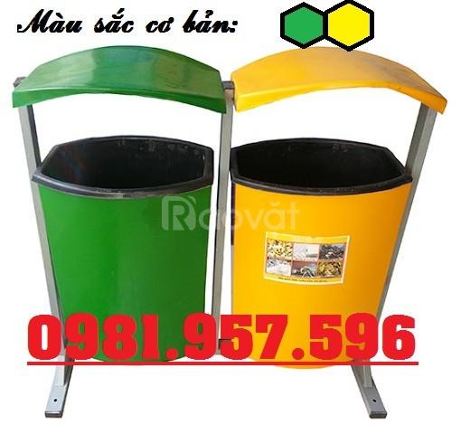 Thùng rác treo đôi 80L, thùng rác 2 ngăn 80L, thùng rác 2 ngăn