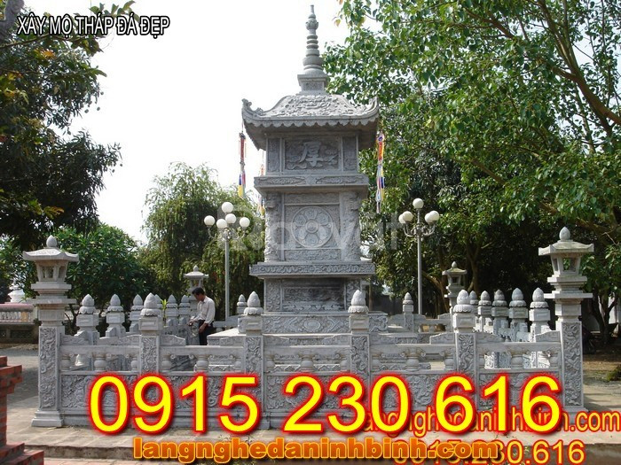 Mẫu mộ tháp đẹp để tro cốt bằng đá tại các tỉnh Long An, Bạc Liêu
