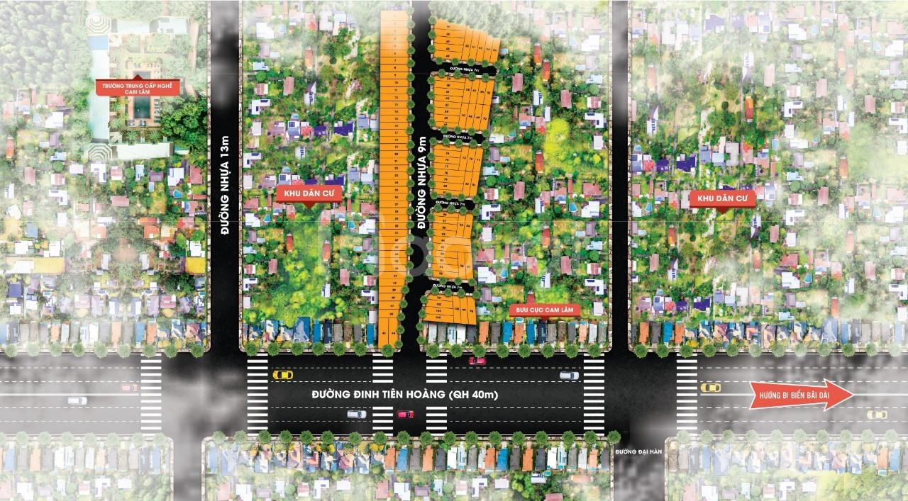 Bán đất mặt tiền trung tâm Cam Đức mặt tiền đường Đinh Tiên Hoàng 40m