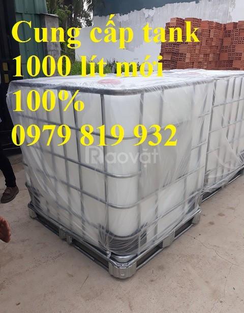 Bán tank IBC 1000l có khung sắt, bồn nhựa có van xả (ảnh 1)