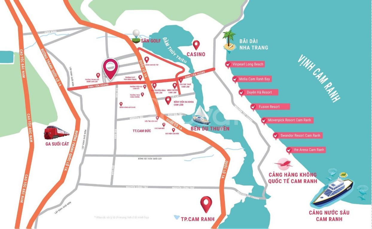 Sở hữu đất mặt tiền đường Đinh Tiên Hoàng Cam Lâm chỉ 550tr