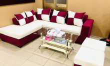 Ghế sofa văn phòng màu kem và đỏ 2.2x1.6m