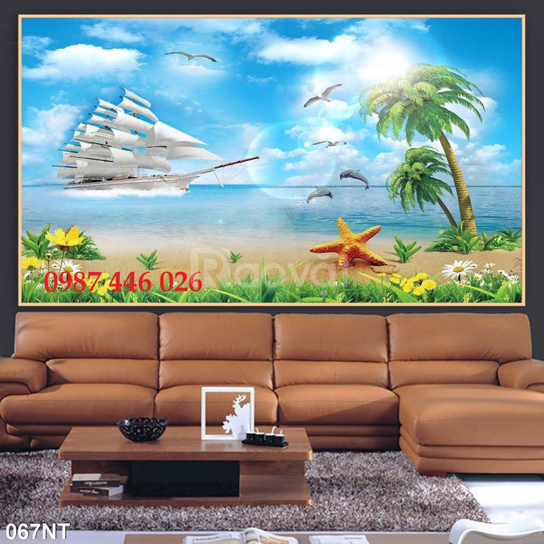 Gạch tranh dán tường phong cảnh 3d
