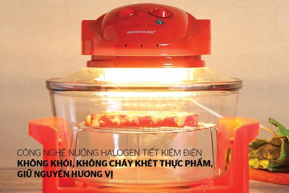 Lò nướng thủy tinh 12 lít Sunhouse SH416 đỏ chính hãng