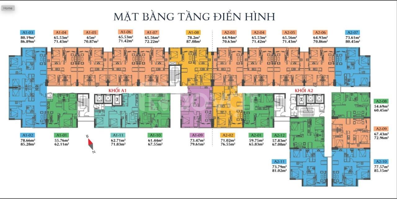 Căn hộ Tham Lương, Q12, DT: 60,45m2, giá chỉ 1.969 tỷ 2PN - 2WC