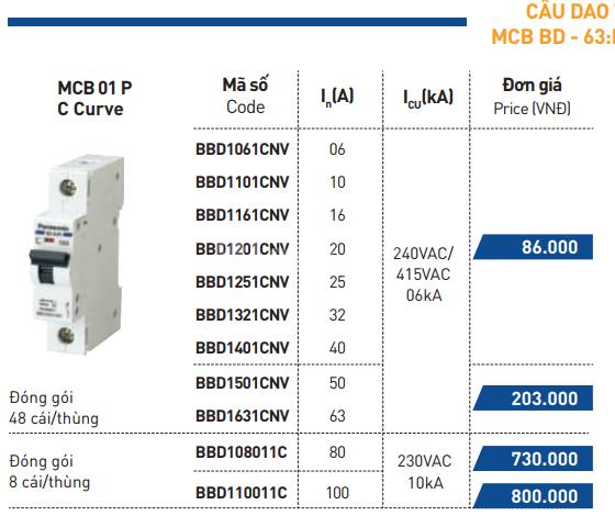 Cầu dao tự động 1 tép mcb 1P 10A Panasonic