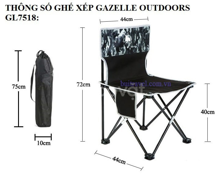 Ghế xếp dã ngoại gấp gọn Gazelle Outdoors GL7518 (ảnh 6)