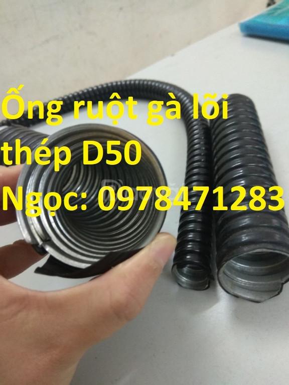 Ống ruột gà lõi thép bọc nhựa PVC phi 50, phi 60, phi 75, phi 90.