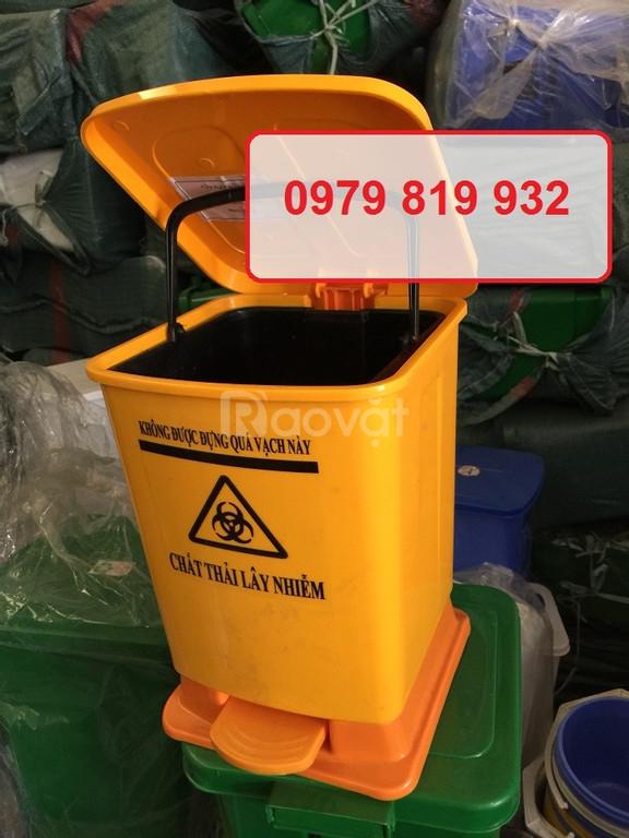 Cung cấp thùng rác y tế 15 lít 20 lít đạp chân y tế màu vàng
