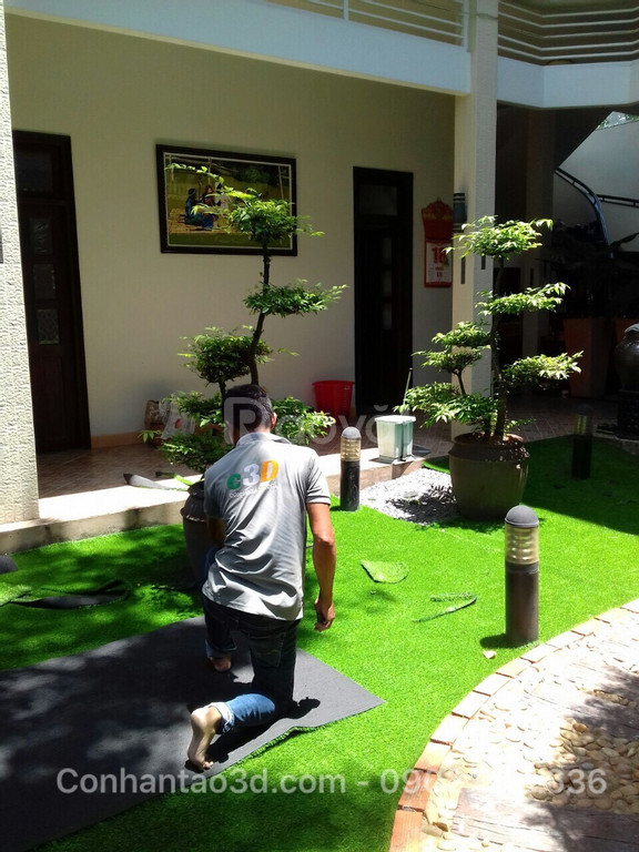Thảm cỏ nhân tạo sân vườn 1cm giá rẻ (ảnh 6)