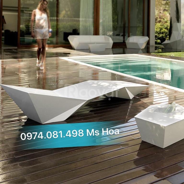 Ghế tắm nắng Fiberglass, ghế nhựa bể bơi giá rẻ thị trường