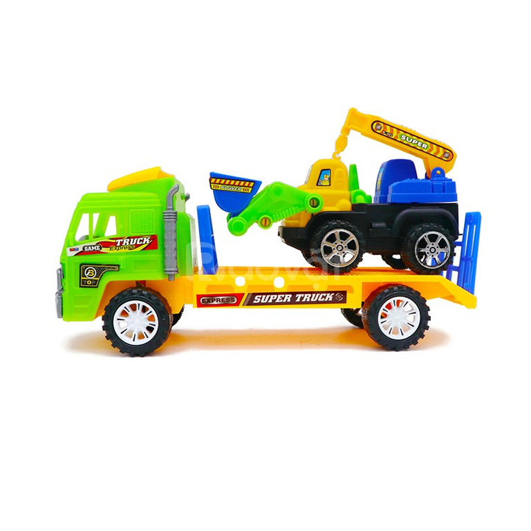 Đồ chơi xe tải chở xe cẩu cho bé