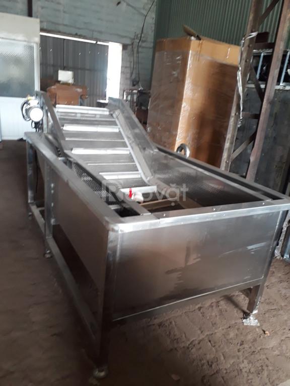 Máy rửa rau băng tải tự động - sục bọt khí