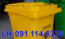 Thùng đựng rác trong bệnh viện 120L màu đen,thùng rác 2 bánh xe 240L