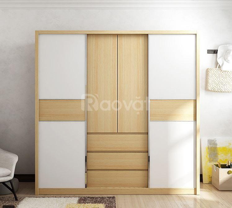 Tủ quần áo cửa lùa hiện đại - thi công tủ quần áo gỗ đẹp
