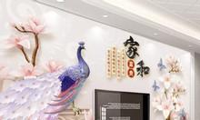 Tranh 5d, tranh gạch chim công- tranh phòng khách