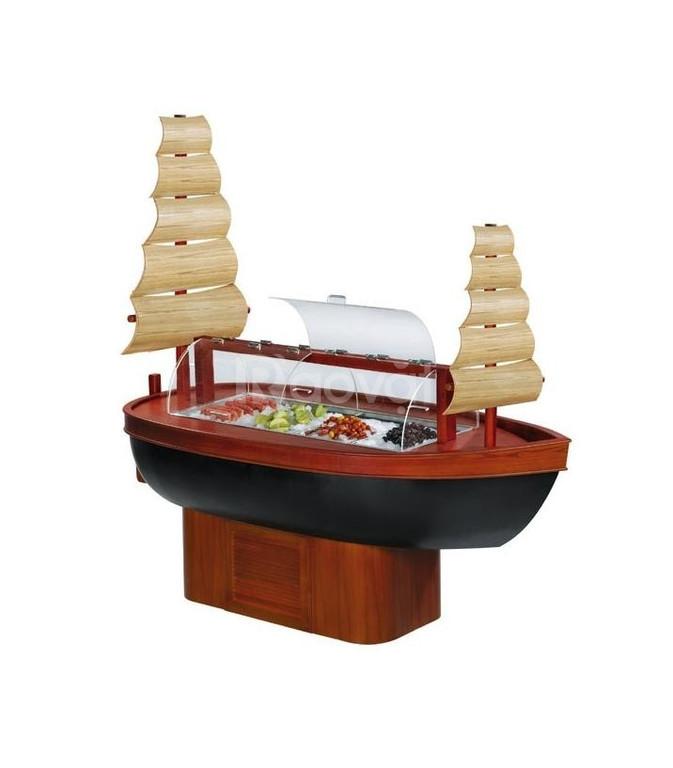 Tủ bầy salad bar gỗ hình chiếc thuyền