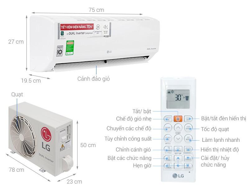 Máy lạnh treo tường LG inverter - gas r32 - 1.5 HP