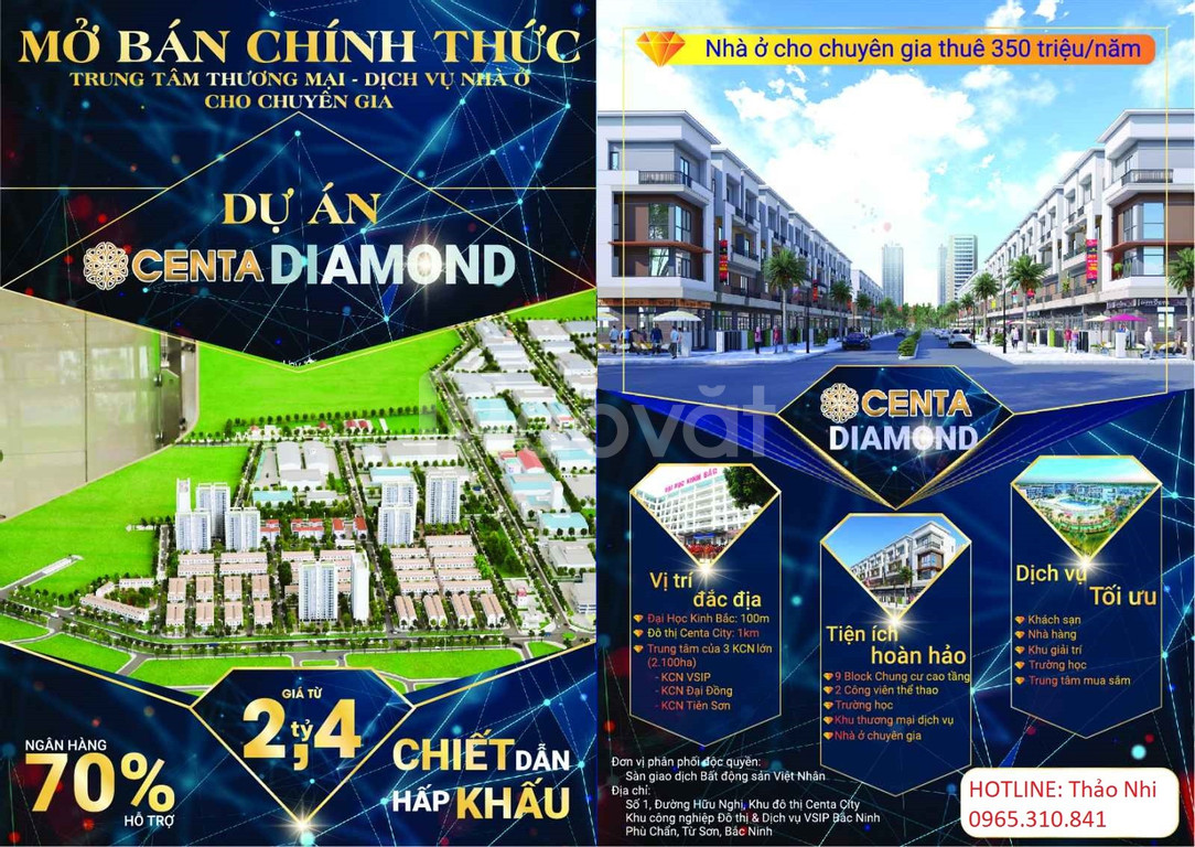 Chính thức mở bán Shophouse vị trí kim cương tại KĐT Centa Diamond