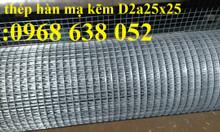 Lưới thép hàn mạ kẽm D3a 50x50mm, khổ 1mx30m, 1.2mx30m sẵnhàng