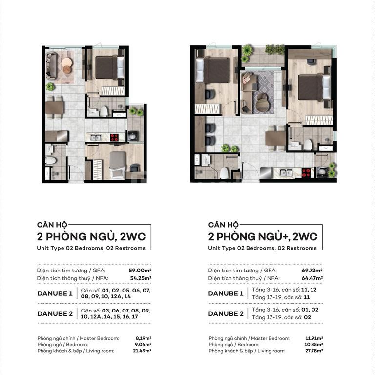 Căn hộ cao cấp 4 mặt tiền đường 3PN- 2WC giá chỉ 2.39 tỷ / căn