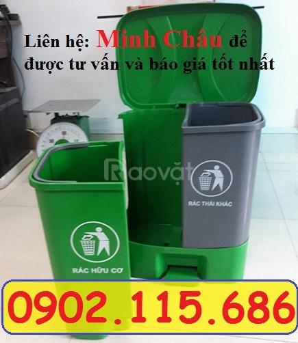 Thùng phân loại rác thải vô cơ hữu cơ, thùng rác 2 ngăn phân loại rác