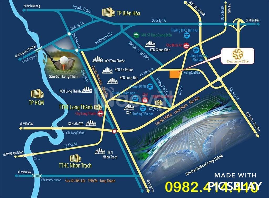 Bán đất gần sân bay Long Thành, thổ cư 100%, mặt tiền đường DT 769
