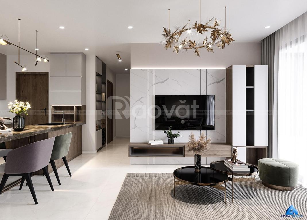 Thiết kế nội thất căn hộ Kingdom 101 2PN   Living Design