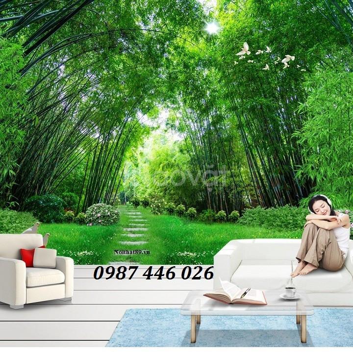 Tranh gạch men 3d, tranh cây xanh dán tường (ảnh 6)