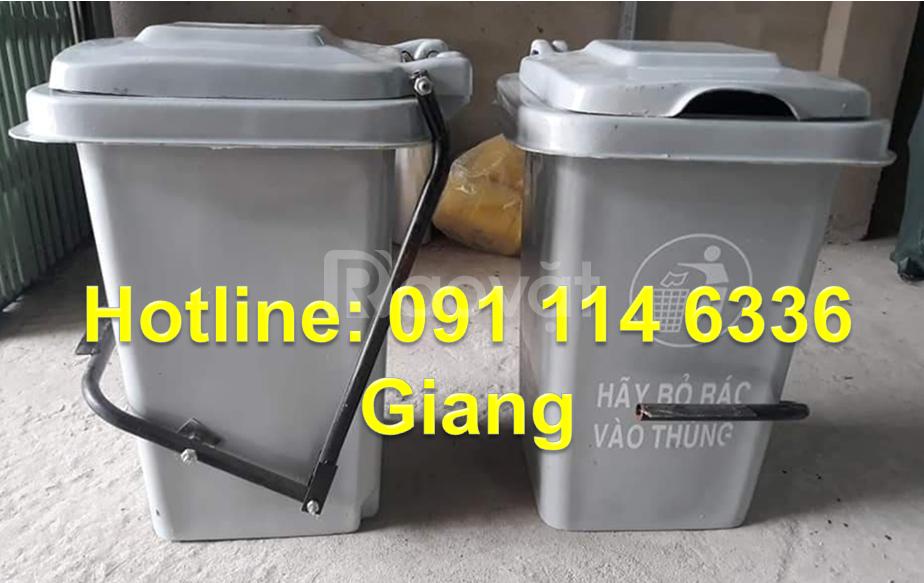Thùng rác 60 lít không bánh xe, thùng rác composite 60 lít đạp chân