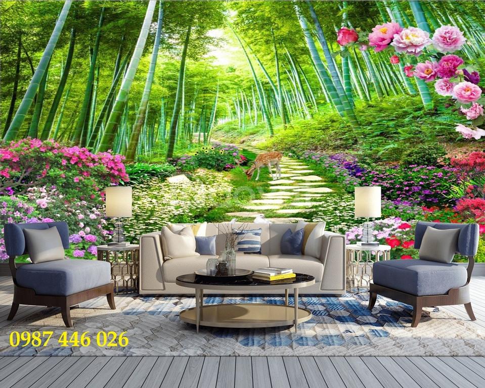 Tranh gạch men 3d, tranh cây xanh dán tường (ảnh 4)