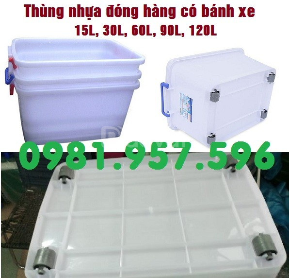 Thùng nhựa 15L, thùng nhựa 30L, thùng trắng có bánh xe (ảnh 3)