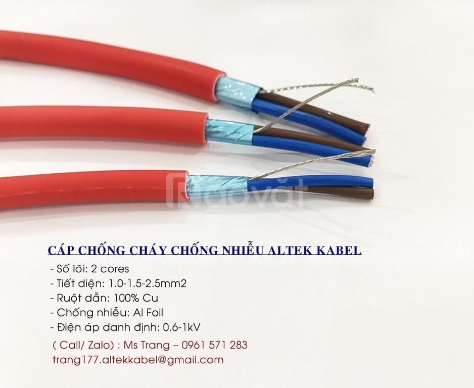 Cáp chống cháy Altek Kabel 2x1.5, chống nhiễu Aluminum foil