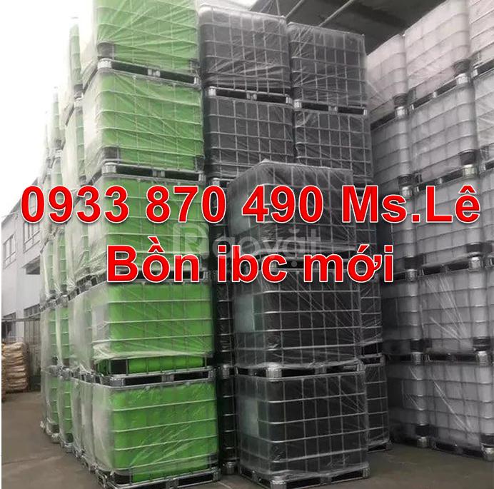 Thùng chứa hóa chất 1000 lít có khung thép, thùng ibc 1 khối vuông