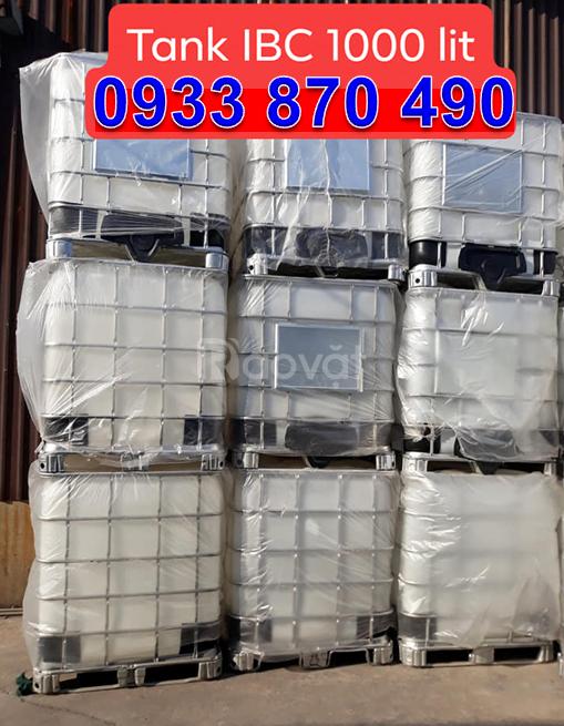 PP thùng nhựa IBC 1000L đựng hóa chất giá rẻ, tank nhựa cũ 1000 lít