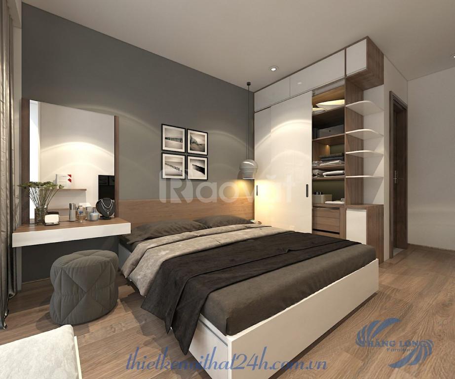 Thiết kế nội thất chung cư 2 phòng ngủ theo phong cách hiện đại đơn  (ảnh 1)